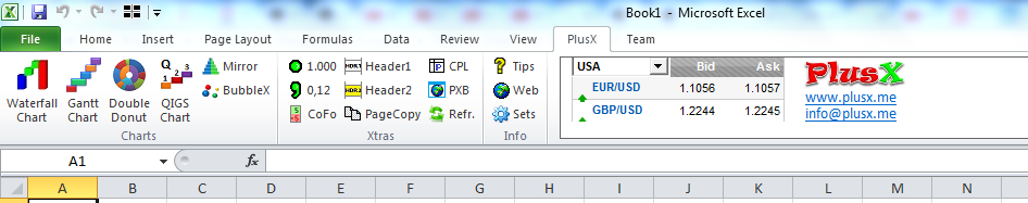PlusX Excel Add-In Screen shot